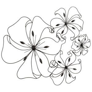 Graphite Fancy Flower Wall Art
