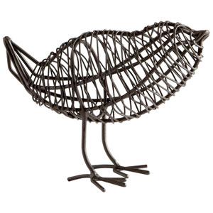 Graphite Bird On A Wire Small Sculpture