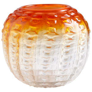 Fire Orange and Clear Pod Vase