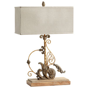 Lindley Sawyers Whitewash and Plantation Bronze One-Light Table Lamp