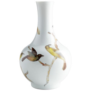 Aviary White Vase