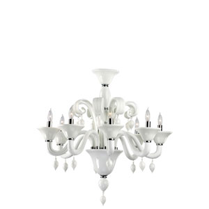 Treviso White Eight-Light Chandelier