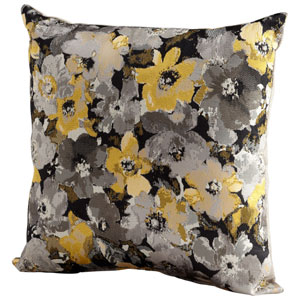 Grey and Gold Field Of Flowers 18-Inch Pillow