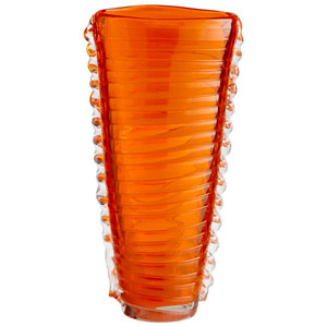 Dollie Orange and Clear Small Vase