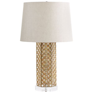 Woven Antique Gold One-Light Table Lamp