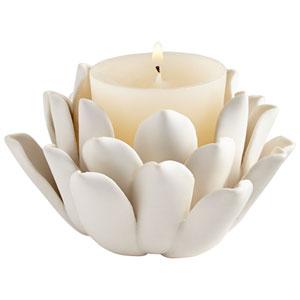 Matte White Dahlia Candleholder