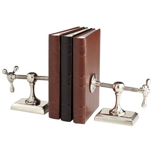 Nickel Hot and Cold Bookends, Set of Two