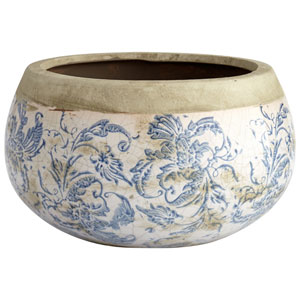 Isela Blue and White Medium Planter