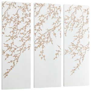 White and Gold Cherry Blossom Wall Art