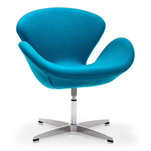 Pori Blue and Steel Frame Accent Chair