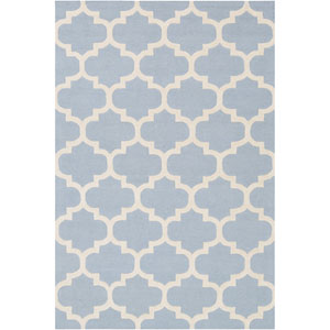 Pollack Stella Light Blue and White Rectangular: 2 Ft x 3 Ft Rug