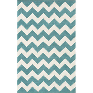 Transit Penelope Teal and Ivory Rectangular: 5 Ft x 8 Ft Rug