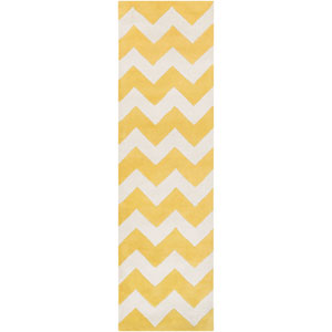 Transit Penelope Yellow and Ivory Runner: 2 Ft 3 In x 10 Ft Rug