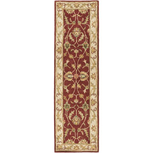 Oxford Isabelle Red and Beige Runner: 2 Ft 3 In x 14 Ft Rug