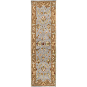 Oxford Isabelle Light Blue and Brown Runner: 2 Ft 3 In x 14 Ft Rug