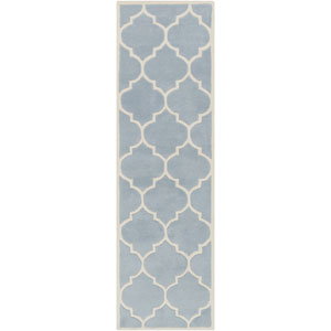 Transit Piper Blue and White Runner: 2 Ft 3 In x 12 Ft Rug