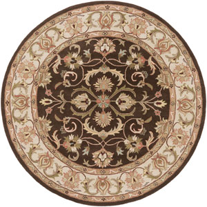 Oxford Aria Brown and Ivory Round: 8 Ft Rug