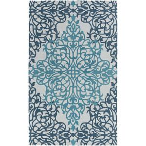Hermitage Faith Teal and Light Blue Rectangular: 4 Ft. x 6 Ft. Area Rug