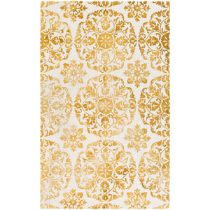 Organic Danielle Yellow and Off-White Rectangular: 4 Ft. x 6 Ft. Area Rug