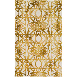Organic Avery Gold and Off-White Rectangular: 8 Ft. x 10 Ft. Area Rug