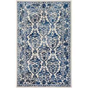 Organic Evelyn Navy and Off-White Rectangular: 4 Ft. x 6 Ft. Area Rug