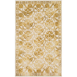 Organic Aubrey Gold and Off-White Rectangular: 4 Ft. x 6 Ft. Area Rug