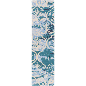 Pacific Holly Teal and Beige Runner: 2 Ft. x 8 Ft.