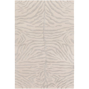 Pollack Hannah Light Gray and Beige Rectangular: 4 Ft. x 6 Ft. Area Rug