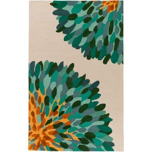 Pollack Susannah Teal and Gray Rectangular: 4 Ft. x 6 Ft. Area Rug