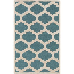 Arise Hadley Teal and Ivory Rectangular: 7 Ft 6 In x 9 Ft 6 In Rug