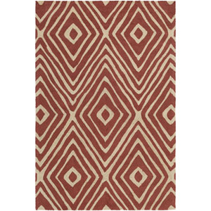 Congo Ella Red and Beige Rectangular: 2 Ft. x 3 Ft. Rug