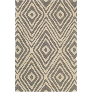 Congo Ella Gray and Beige Rectangular: 2 Ft. x 3 Ft. Rug