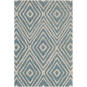 Congo Ella Blue and Beige Rectangular: 2 Ft. x 3 Ft. Rug