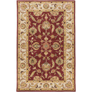 Oxford Isabelle Red and Beige Rectangular: 5 Ft x 8 Ft Rug