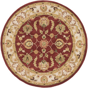 Oxford Isabelle Red and Beige Round: 6 Ft Rug