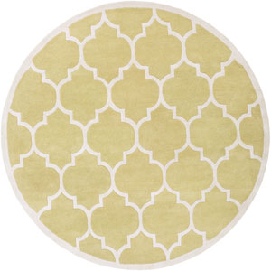 Transit Piper Gold and White Round: 6 Ft Rug