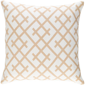 Ethiopia Kenya Beige and Ivory 18 x 18 In. Pillow with Down Fill