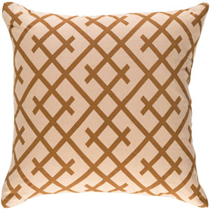 Ethiopia Kenya 18-Inch Beige and Camel Pillow Cover