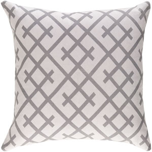 Ethiopia Kenya Light Gray and Gray 18 x 18 In. Pillow with Down Fill