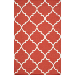 York Mallory Coral and White Rectangular: 4 Ft x 6 Ft Rug