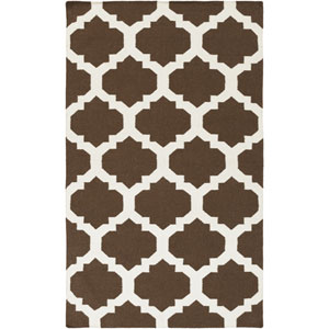 York Harlow Brown and White Rectangular: 4 Ft x 6 Ft Rug