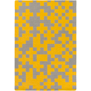 Hilda Beatrix Yellow and Gray Rectangular: 7 Ft. 6-Inch x 9 Ft. 6-Inch Area Rug