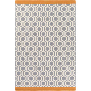 Hilda Eva Gray and Orange Rectangular: 2 Ft. x 3 Ft. Area Rug