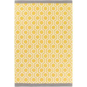 Hilda Eva Yellow and Gray Rectangular: 7 Ft. 6-Inch x 9 Ft. 6-Inch Area Rug