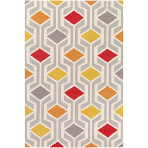 Hilda Gisele Red and Orange Multicolor Rectangular: 2 Ft. x 3 Ft. Area Rug