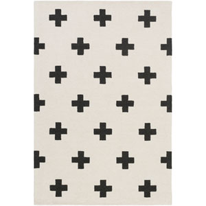 Hilda Monica White and Black Rectangular: 3 Ft. x 5 Ft. Area Rug