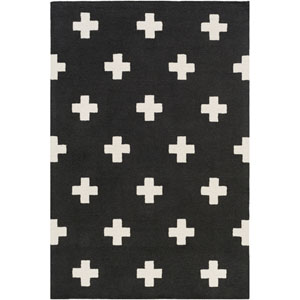 Hilda Monica Black and White Rectangular: 7 Ft. 6-Inch x 9 Ft. 6-Inch Area Rug