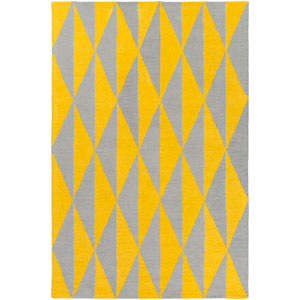 Hilda Sonja Yellow and Gray Rectangular: 7 Ft. 6-Inch x 9 Ft. 6-Inch Area Rug