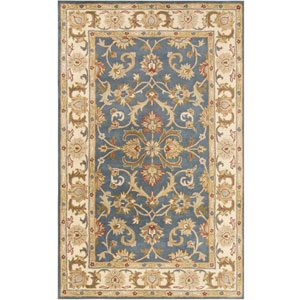 Oxford Aria Teal and Beige Rectangular: 2 Ft x 3 Ft Rug