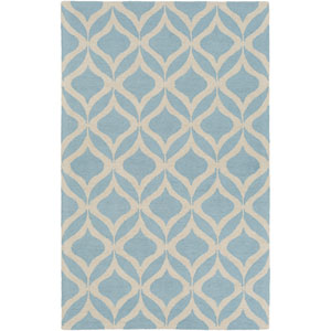 Impression Addy Light Blue and Ivory Rectangular: 4 Ft x 6 Ft Rug
